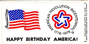 Bicentennial Peel Off Label Postcard