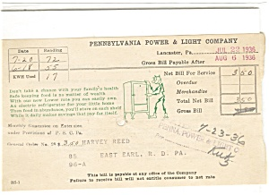 Pennsylvania Pwr And Light Bill 1936 Lp0076