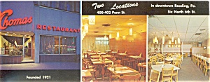 Thomas Restaurants Reading Pa Postcard Lp0077