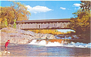 Covered Bridge at Swiftwater Village, NH Postcard (Image1)