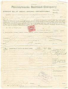 Pennsylvania Railroad Bill of Lading lp0173 1916 (Image1)
