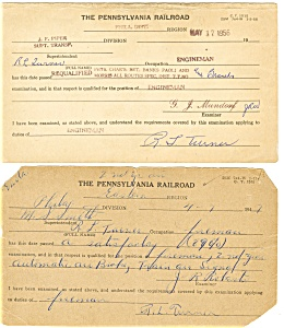 Pennsylvania Railroad Employee Examination Forms Lot of 4 lp0174 (Image1)