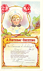 A Birthday Greeting Card Dated 1928 (Image1)