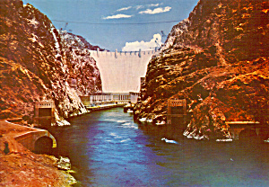 Hoover Dam From River Level Postcard Lp0418