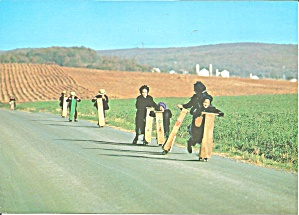 Amish Cildren, School Bound on Scooters lp0572 (Image1)