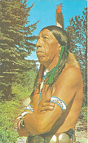 American Indian Brave Large Postcard Lp0696