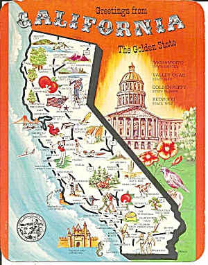 State Map Of California Postcard Lp0726