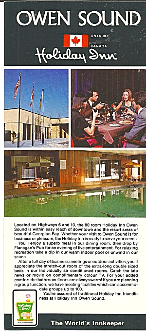 Owen Sound Ontario Holiday Inn Brochure Lp0785