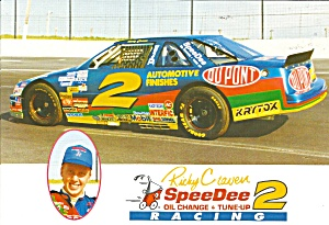 No 2 Ricky Craven Speedee Oil Change Race Car Pit Card Lp0836