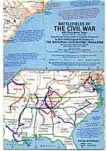 Battlefields Of The Civil War Map 1961