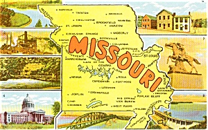 Missouri Map Multiview Postcard n0209 (Image1)