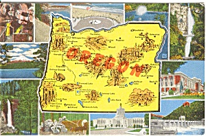 Map of Oregon Multiview Postcard n0218 (Image1)