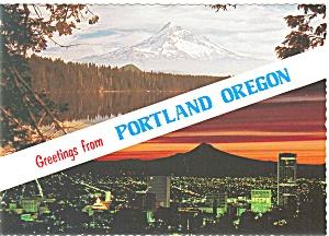 Portland Oregon Multiview Greetings Large Postcard n0279 (Image1)