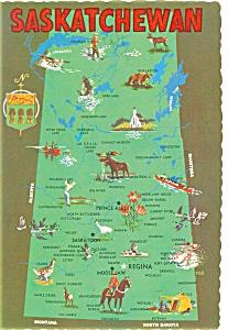 Map of Saskatchewan Canada Postcard n0315 (Image1)