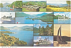 Majestic Lake George, NY Multi Views Postcard (Image1)