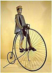 Man on a Bicycle Folk Art Postcard (Image1)