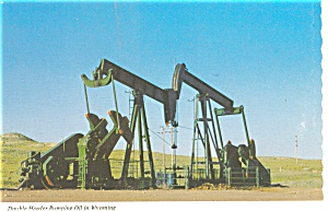 Double Header Pumping Oil in Wyoming Postcard n0455 (Image1)