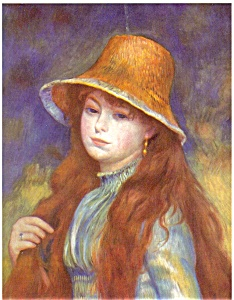 Auguste Renoir Young Girl In Straw Hat Postcard N0496