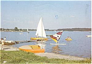 Sailboats on Lake, Polish Postcard (Image1)