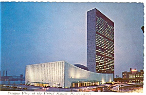 New York City United Nations Evening View Postcard  (Image1)
