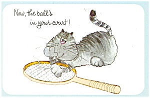 Cat With Tennis Racquet Postcard N0569