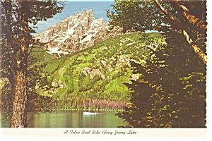 A Teton Boat Ride Along Jenny Lake WY Postcard n0740 (Image1)
