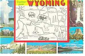 Wyoming State Map Postcard n0787 (Image1)