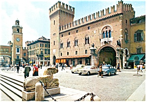 Ferrara, Italy City Plaza Old Cars Postcard (Image1)