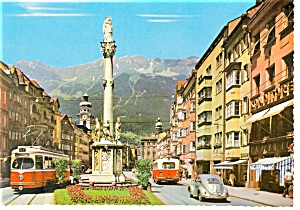 Innsbruck, Austria Street Scene &  Trolley Postcard (Image1)