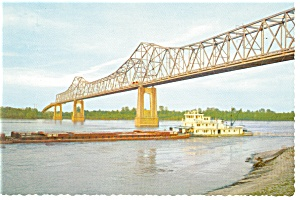 Greenville Ms Bridge And River Barge Postcard N0855