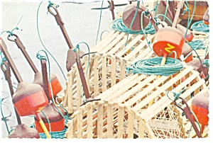 Cape Cod Ma Lobster Traps Postcard N0875
