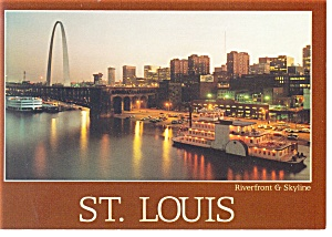 St Louis, MO, Riverfront and Skyline Postcard (Image1)