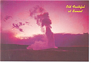 Old Faithful at Sunset Yellowstone National Park WY Postcard  n0908 (Image1)