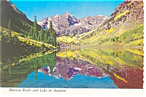 Maroon Peaks And Lake In Autumn Postcard