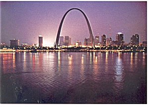 St Louis MO Skyline at Night Postcard n0990 (Image1)