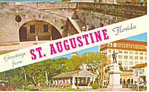 Greetings From St Augustine Florida  Postcard n1052 1964 (Image1)