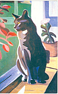 Painting of a  Cat Postcard n1092 (Image1)