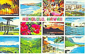 Honolulu Hawaii Twelve Views Postcard n1217 (Image1)