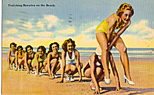 Girls Playing Leap Frog On Beach Postcard N1283