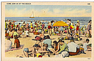 Crowd On The Beach Postcard N1284