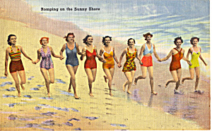 Girls Running On Beach Postcard N1287