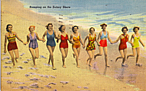 Girls Running On Beach Postcard N1288