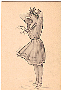 Sketch Of A Lady Postcard N1306