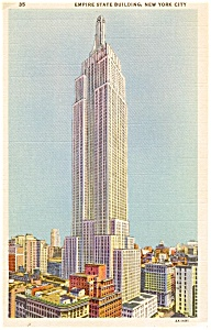 Empire State Building New York City Color  Postcard p0055 (Image1)