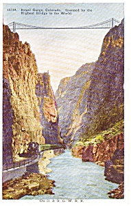 Steam Train in Royal Gorge  CO Postcard p0437 (Image1)