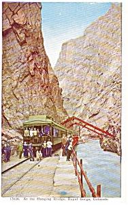 Train at Hanging Bridge Royal Gorge CO Postcard p0438 (Image1)