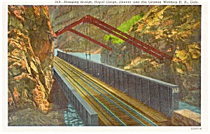 Hanging Bridge in Royal Gorge CO Postcard p0440 (Image1)
