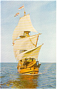 Mayflower II Bow View  Postcard p0450 (Image1)