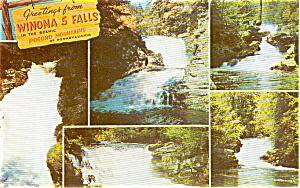 Winoa 5 Falls Poconos PA Postcard p0589 (Image1)