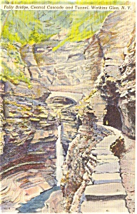 Folly Bridge Watkins Glen NY Postcard (Image1)